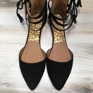 Qupid Black Flats Pointy Toe Suede Side Tie